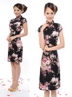 2014 fashion tang suit cheongsam dress/silk brocade bride cheongsam/cheongsam with short sleeves,woman dress,Free shipping