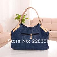 New 2014 Fashion vintage women handbag crocodile pattern genuine PU leather bag one shoulder women messenger bag Hot sell bag