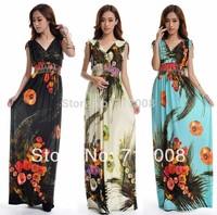 2015 new year dress sexy  big size summer beach dress for women ladies Long maxi dress 6xl  plus size beach dress longo floral