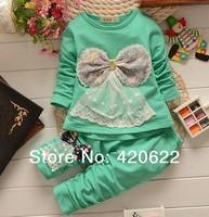 100% cotton bow set three-dimensional twinset children's clothing set female child 4 Colour
