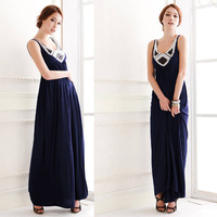 New 2014 Summer Elegant Women Solid Sequined V-Neck Pinched Waist Floor-Length Long Dress Vestidos, Blue, Size Free