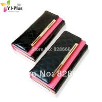 2014 wallet female short design fashion color block long design wallet japanned leather plaid diamond clutch wallet