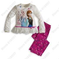 New Arrival 2014 Frozens Elsa&Anna Pajama Set Princess Clothing Sets Kids Clothing Snow Queen Children Nightie/Pyjamas
