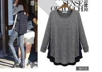 4xl 5xl Plus size clothing women 2015 spring autumn fashion long-sleeve o-neck chiffon shirt tops pullover sweater