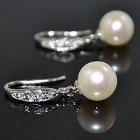 free shipping AAAA  8mm round white genuine freshwater pearl dangle earring Sterling silver + zircon B59#