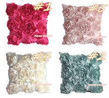 Romantic Solid 3D Rose Raise Ribbon Rosettes Home Deco Sofa Bed Pillow Case Cushion Cover Home & Graden MAHG081(Hong Kong)