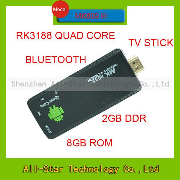 2014 MK809 III Quad core RK3188 android tv stick 2GB RAM 8GB ROM bluetooth wifi Mk809III Mini PC dongle Android 4.2(China (Mainland))