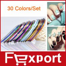 30 colori rolls del nastro della striatura linea nail art sticker strumenti decorazioni di bellezza per su adesivi per unghie , 455(China (Mainland))