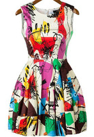 2014 Summer New Style Hot Sale Women's Fashion Multicolor Sleeveless Graffiti Print Flare Short Dress