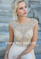 Modest Chiffon Cap Sleeves Prom Long Dresses With Crystals Beaded 2015 New Women Evening Party Gowns