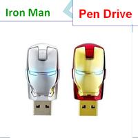 Free shipping Pen Drive 4GB 8GB 16GB USB flash drive 32GB 64GB Cool Iron Man USB 2.0 Flash Memory Stick Thumb Drive