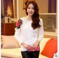 2014 New Fashion Autumn Winter Women Rose Hollow Shoulder Batwing Sleeve Pullover Lady Slim Knitting Sweater Cardigan Knitwear