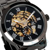 SHENHUA Titanium Black Steel Automatic Skeleton Mechanical Men Daily Wear Wrist Watch Free Ship