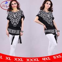 M To 5XL! New 2014 Spring T shirts Medium-long Summer Short-sleeve Fresh Cotton Batwing Loose Print Plus Size White Black HT678