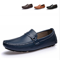 2014 Summer Fashion Men Genuine Leather Sneakers Man Casual Slip-on Adult Shoes Driving Flats Athletic Loafers Solid  Shoe