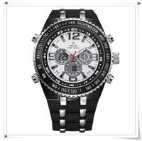 Free Shipping WEIDE New 2013 Fashion Dual Display Digital Watch Quartz Analog Watches Sports Men Rubber Alloy Strap