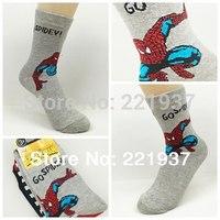 Wholesale 6Pair/lot 2014 New Spider-man Baby Cotton  socks/Kid Boys Slip-resistant Small Cartoon Floor Socks 3-15 Years