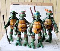 4pcs/set Cartoon Action Figure Toys TMNT Ninja Leonardo/Raphael/Michelangelo/Donatello 14cm PVC Action Figure Model Toy For Gift