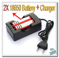Free Shipping 1 pieceDouble Battery Charger Travel Charger For 18650 Rechargeable Battery + 2*18650 3.7v 4200mah battery