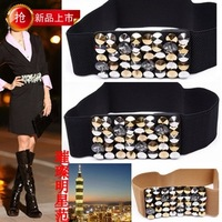Female waist  fashion all-match rhinestone decoration wide belt vintage white elastic waist Cummerbund
