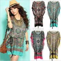 2014 summer new dress ethnic fashion printing large size waist bat sleeve Ice silk dress