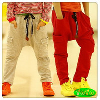 Hot sale 2014 kids causal sports autumn sashes zipper  harem cotton pants 3-8 years Free shipping