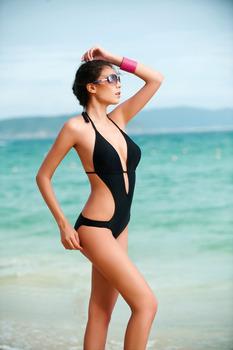 2015 цельный купальник женщин сексуальный купальники повязку монокини купальник лента для волос дамы пляжная одежда купальный костюм Большой размер 2XL