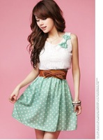 Free Shipping! New Fashion Style Womens Girls Sleeveless O-Neck Polka Dot Sweet Lovely Chiffon One Dress Without Belt