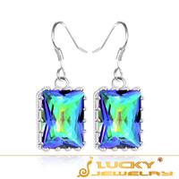 2014 New Arrival Best Rainbow Mystic Topaz Crystal Silver Long Earring For Women Earring E0002