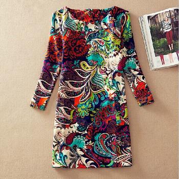 Повседневное платье с ярким принтом, О-образным вырезом и длинным рукавом