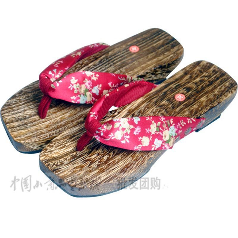 Senhoras japonês SAMURAI Clogs madeira sandálias masculino entope sapatos de salto de madeira plana chinelos toe sapatos prancha verão quadrados sandálias por EMS(China (Mainland))