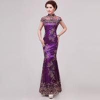 Top  quality  Fashionable  short  fish tail slim lace design sexy long cheongsam evening dress & performance dress plus size