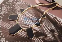 Fashion Women Top Stylish Personalized Black Geometric Shape Choker Disposition Bib Necklace b21 SV001674