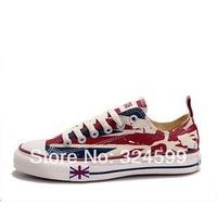 Free shipping women flats sneakers,Women Shoe,Canvas shoes 2014 new counter genuine women high&low Graffiti new flag