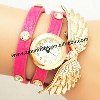 100pcs/lot 2014 New women vintage watch rhinestone leather watches set auger angel wings rivet bracelet women dress wristwatch