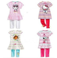 Free shipping 2014 new models hello kitty children clothing sets baby kids girls cute summer short-sleeved striped leisure suit