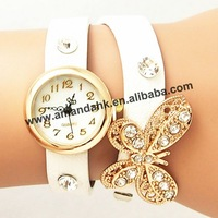 60pcs/lot New women vintage leather watches butterfly rivet bracelet women dress watch women wristwatch factory price
