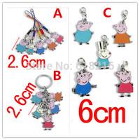 Wholesale Anime Peppa Pig Toys 10 set/lot(5pcs=1set) Peppa Pig Family Anime pendant necklace Keychain Set Classic Toys  PP6602