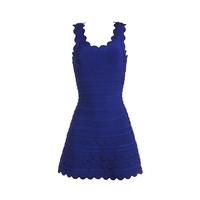 2014 wholesale Spring hot sell sleeveless pleated sweety celebrity bandage dress deep blue