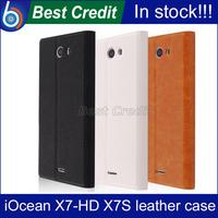 Free shipping Iocean  X7S  x7 hd flip leather case Iocean  X7S  x7 hd pouch case PU flip case for Iocean  X7S  x7 hd black/kate