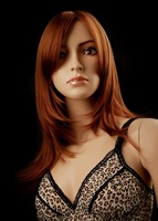 Free shipping 2014 new arrival  medium long light brown wigs for black women