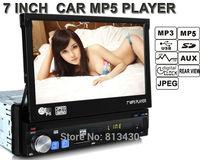 7'' inch TFT Screen Retractable Screen Rear View car MP4 MP5 usb fm Remote Control Car Audio Car Radio 1din car instead of dvd