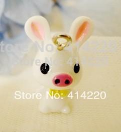 Resin Piggy Pendant for Necklace/Mobilephone Chain Pendant /Mini Resin Ornaments /Bonsai Decoration by 30PCS/LOT(China (Mainland))