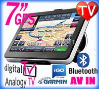 Best 7 inch HD portable car gps Nuvi navigation with digital tv Bluetooth Av-in Fm transimitter 4GB worldwide Map freeshipping