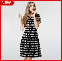 New Arrival Spring S-4XL Fashion 2014 WOMEN Chiffon Black And White Plaid High Waist O-Neck Ladies One-piece Dress High Quality