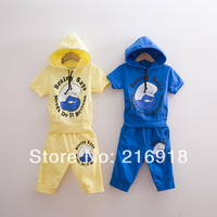 Child summer cartoon child 2014 male short-sleeve T-shirt knee-length pants casual set