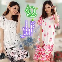 Spring and autumn women's sleepwear plus size plus size plus size modal nightgown mm plus size nightgown derlook sleepwear