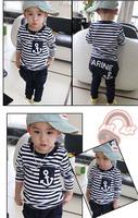 hot selling retail cotton kids boy and girl summer suit striped t-shirt + marine design pants 2pcs clothing set