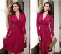New 2014 fashion women winter dress long sleeve v-neck pleats lacing Knee-length skater dress high quality B094