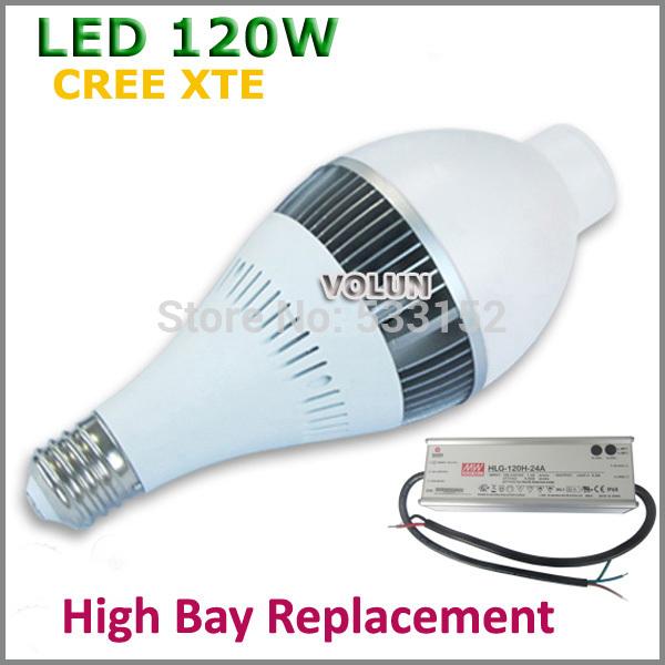 Revolutionary Lightest LED High Bay Light 120W CREE XTE LED Lamp Bulb, E39 E40 Mogul base, Replacement of 450W HPS, Mercury Lamp(China (Mainland))